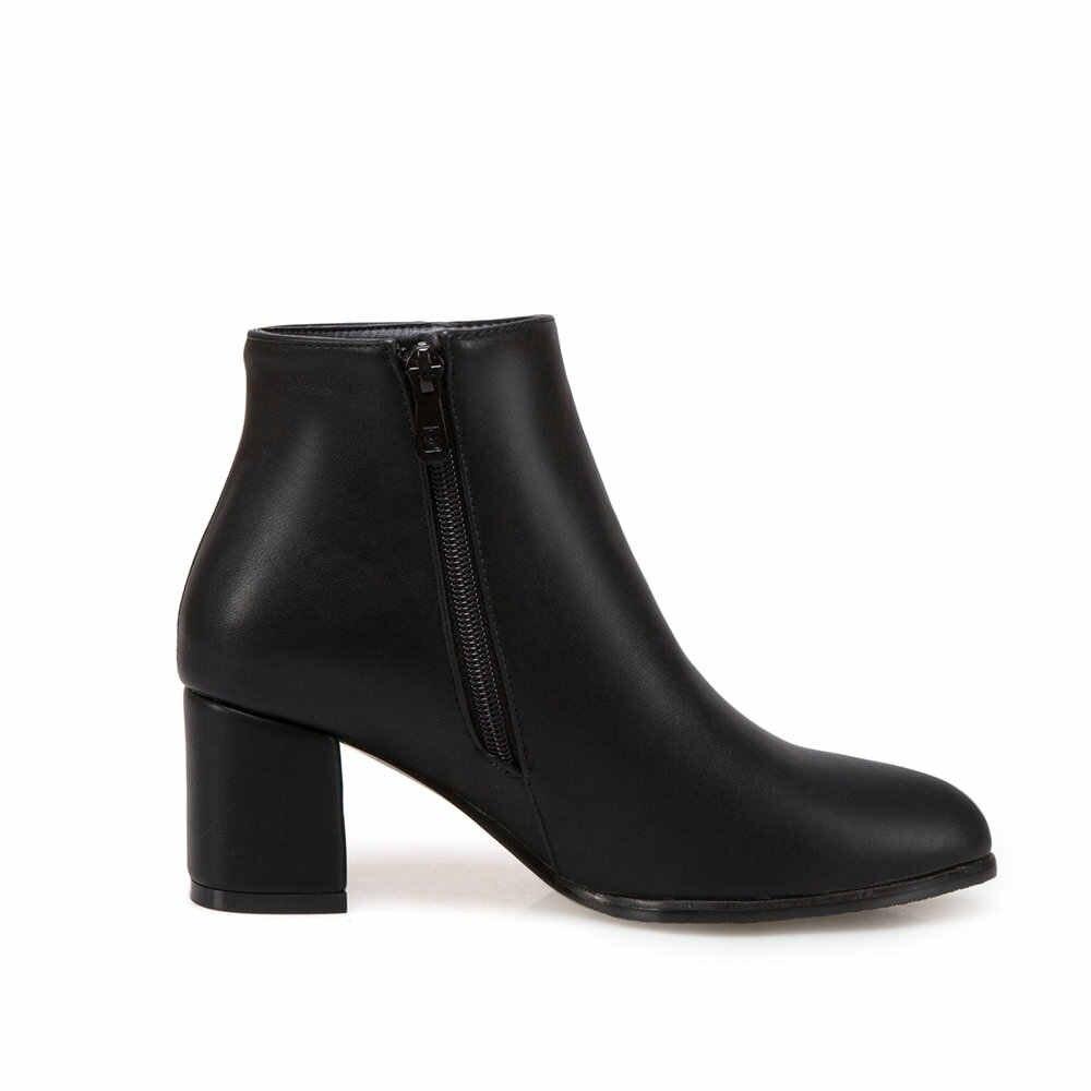 Kadınlar Kristal Çizmeler Kalın Topuk yarım çizmeler Fermuar Sivri Burun Moda Çizmeler Sonbahar Kış Ayakkabı Artı Boyutu 43 2018 Beyaz Siyah