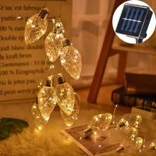 100Led Fairy Taper Transparent Bulb Solar Power Copper Wire String Light 3M LED Decor For Christmas Garland New Year gerlyanda