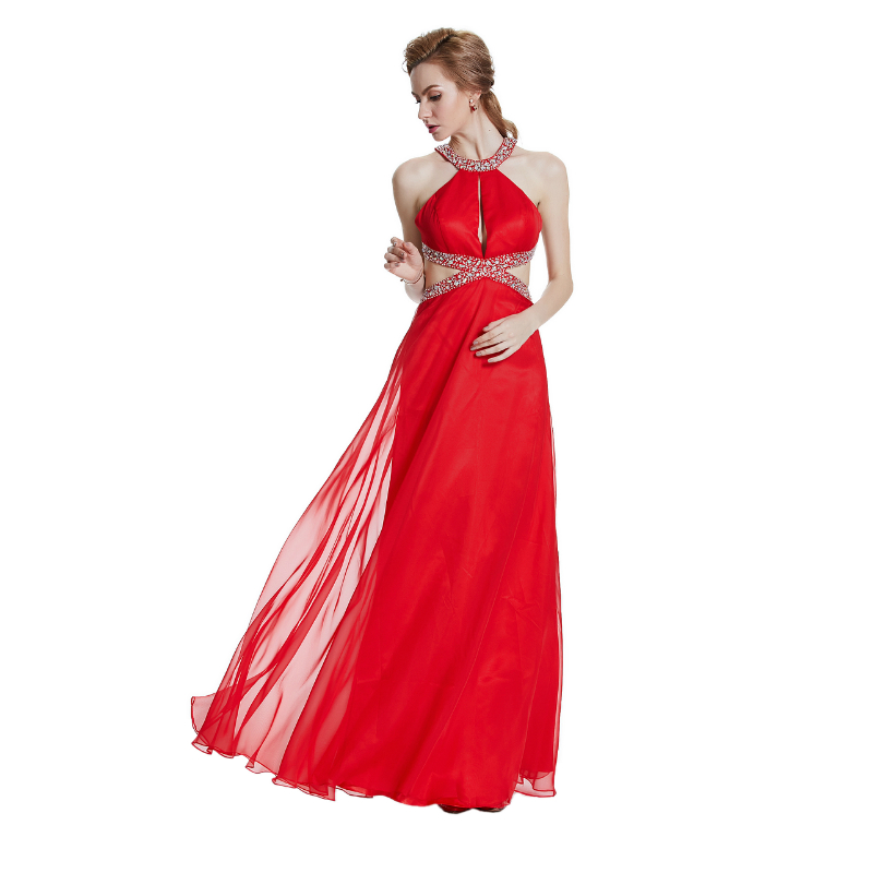 W.JOLI 2017 Sexy Red Long Evening Dress Cytal Beading Bride Bankett - Spesielle anledninger kjoler - Bilde 6