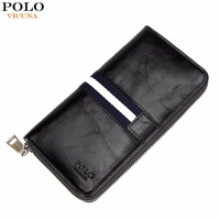 VICUNA POLO Waxy Oil Genuine Leather Wallet Fashion Striped Design Large Mens Long Wallet Zipper Men