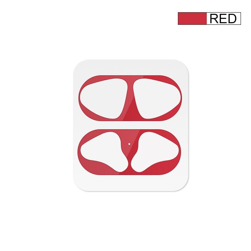 Металлическая Пылезащитная наклейка для Apple AirPods, чехол, Пыленепроницаемая защитная наклейка, защитная пленка для Air Pods, аксессуары - Цвет: Red