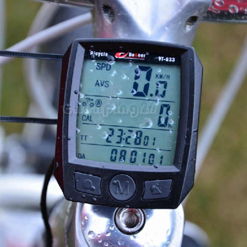 Black Red Outdoor Sport Computer Cycling Speedometer Large Screen Waterproof Multifunction Wired Bike Odometer Bicycle Computer