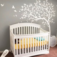 A045 Large size Tree Branches Birds Wall Decals Nursery Vinyl Baby Wall Stickers Wall Art For Kids Rooms living room home Decor