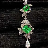 Pure natural Columbia Emerald Pendant,Gold inlaid quality,Size 3x5mm! 4x5mm!High cleanliness,925 silver Seiko mosaic