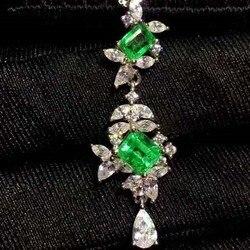Reine natürliche Columbia Smaragd Anhänger, Gold intarsien qualität, Größe 3x5mm! 4x5mm! Hohe sauberkeit, 925 silber Seiko mosaik