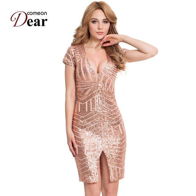 Comeondear RA80202 Special Occasion Women Bodycon Gold Blush Sequins Split  Party Mini Dress Short Sleeve Sexy Club Dress 459bda9c55ae