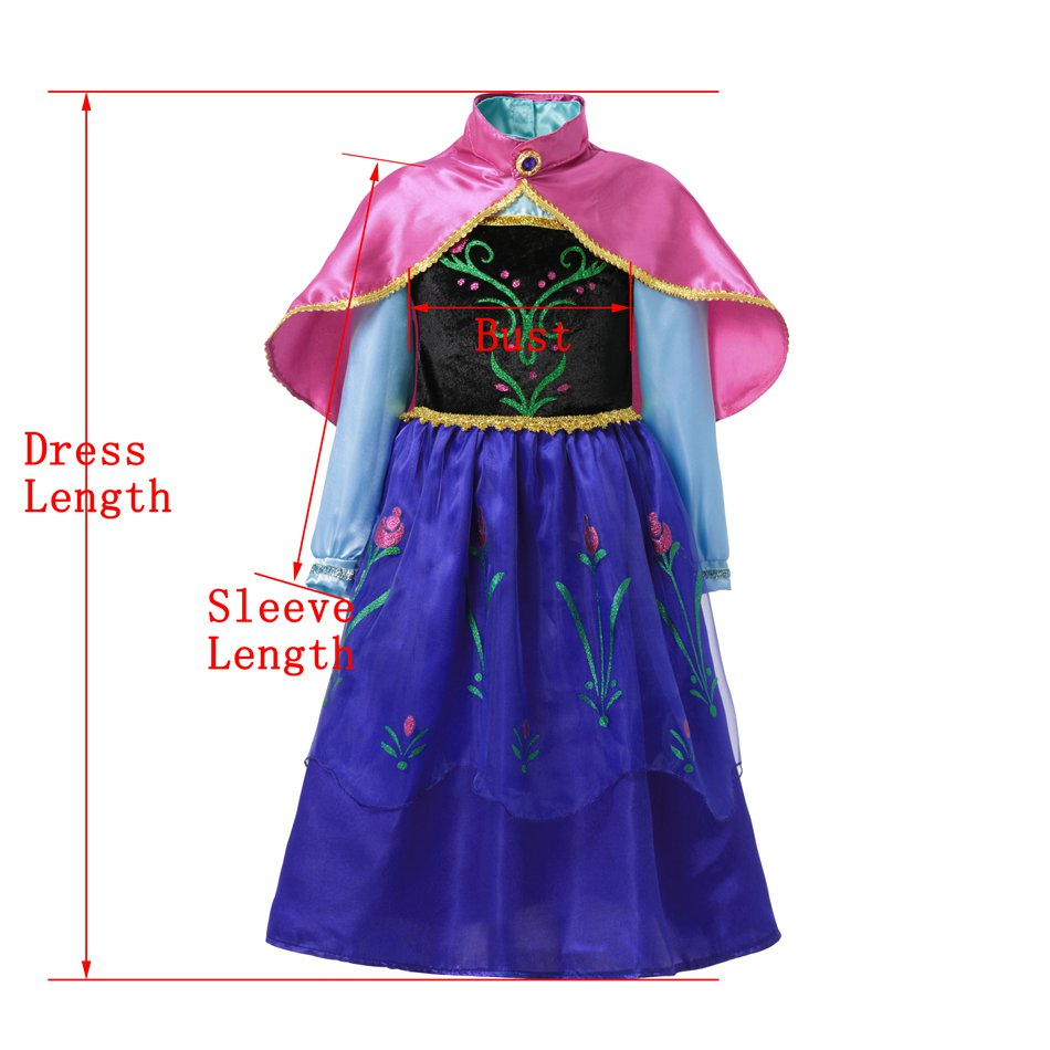 VOGUEON niña Anna vestir traje niños princesa partido vestido de ...