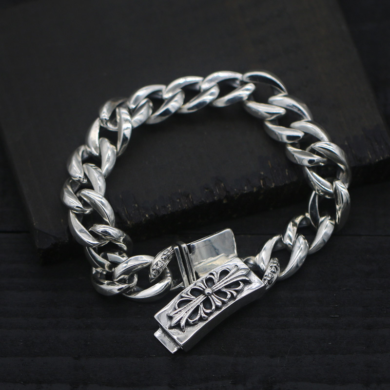 S925 Sterling Silver Retro Thai Silver Buckle Fashion Men And Women Male And Female Bracelet s925 sterling silver silver bracelet retro fashion jewelry made of old men and women