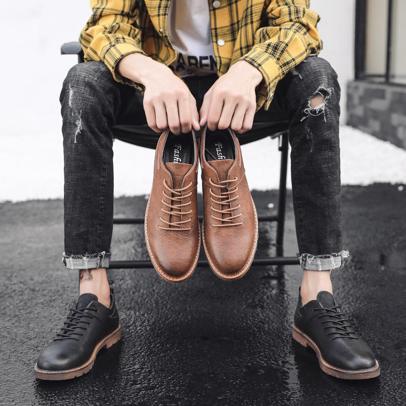 Brand British Style Men Shoes Classic Leather Oxfords Business Luxury Men Casual Shoes Increase Non-slip Loafers Vintage Oxfords