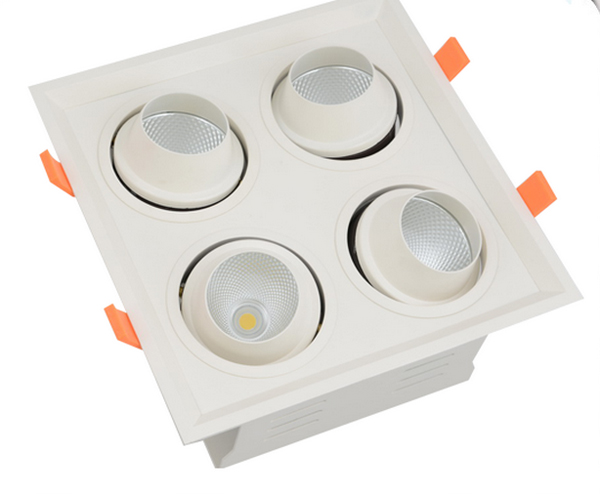 Glare Free! Accent Lighting Recessed LED Square Downlights 4 heads Adjustable 4X8W / 4X12W Driver and Lamp Bady Separated glare 30