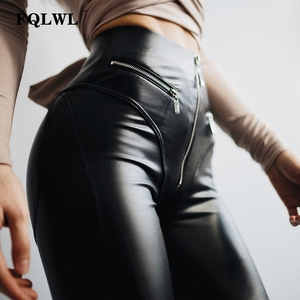 Image 2 - FQLWL Sexy PU Leather Pants Women Trousers Black High Waist Pants Female Hip Push Up Stretch Skinny Pencil Pants Ladies Leggings