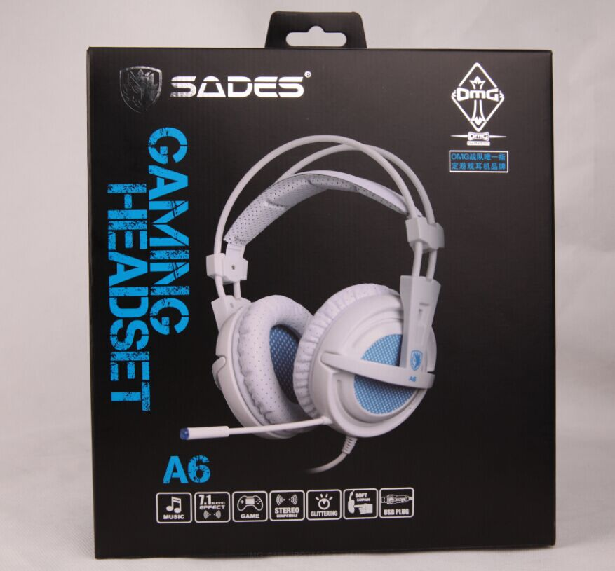 SADES A6 USB 7.1 Stereo wired gaming headphones game headset over ear with mic Voice control for laptop computer gamer 18