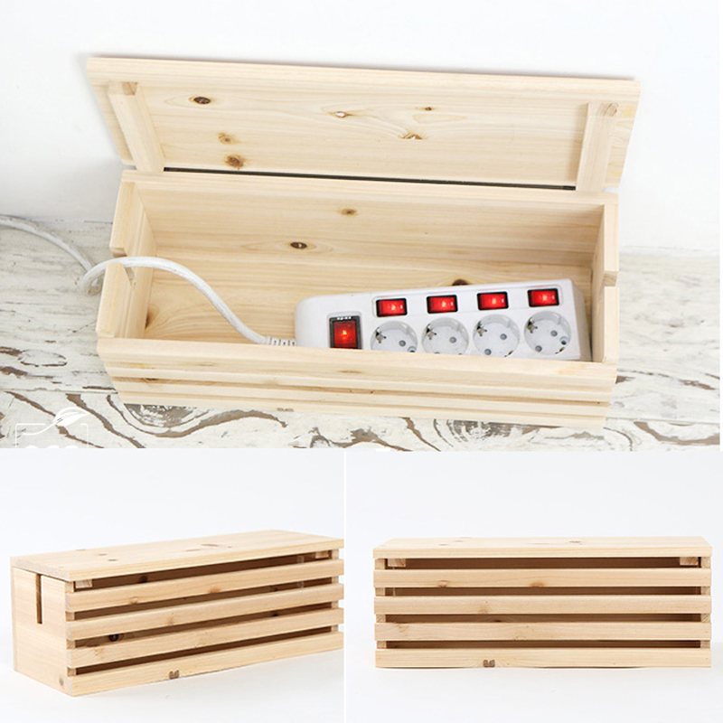 2019 New Rectangular Cable Storage Box Wire DIY Wood Cable Storage Box Management Socket Safety Practical