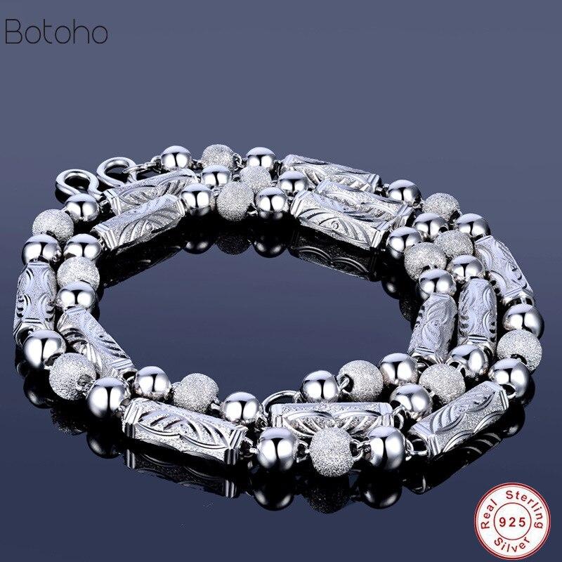 Vintage 925 men necklace Chain necklace ladies men women chain retro vintage real Thai silver charm men necklace No pendant 2018 bone pendant chain necklace