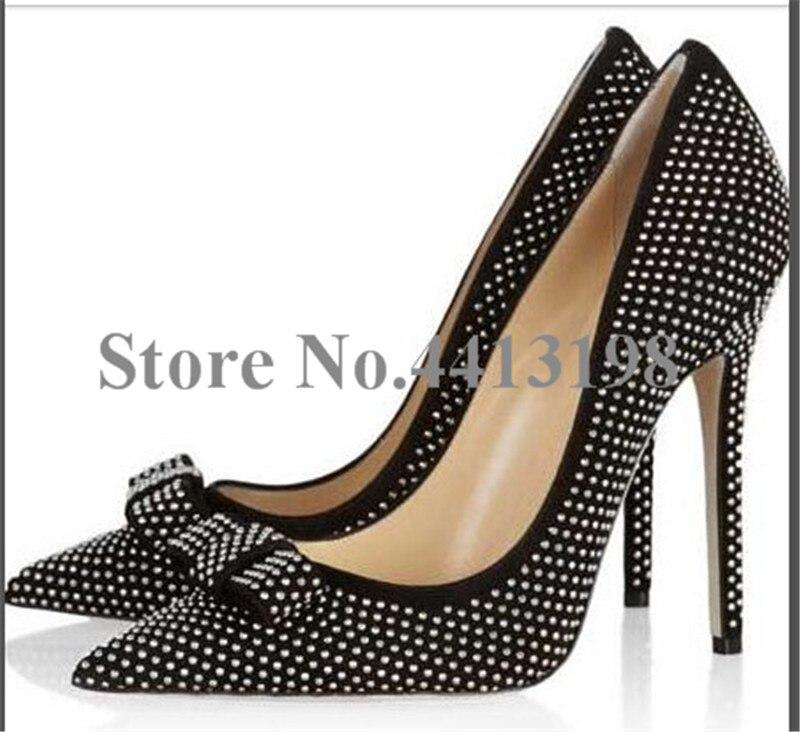 Bout Pointu Papillon Talons noeud Pompes Femmes Haute Picture Chaussures Super Sur Noir Mince Mode Cristal As Casual Slip nxqAA8