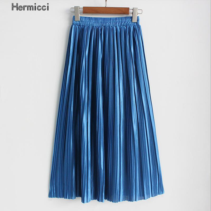 Hermicci 2018 Summer Pleated Ankle length Maxi Skirt Long Vintage Women Metallic Skirt