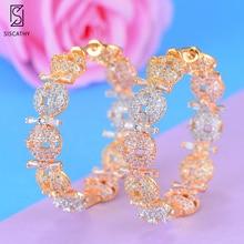 SISCATHY Charms CZ Big Round Hoop Women Earrings Fashion Cubic Zirconia Statement Girls Jewelry bohemian 2019