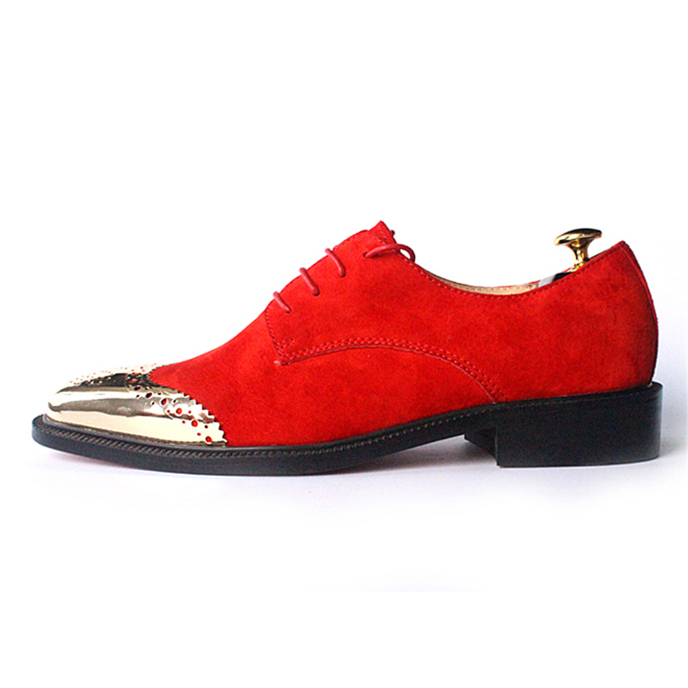Cow suede gold head decorated with European and American popular red end of men shoes mens dress shoes