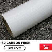 Dimensioni 1.52x30 m/Roll bianco 3D Carbon Fibre Vinyl Car Wrap Film lamina Con Air Bubble Free 3D white Car styling della pelle che copre