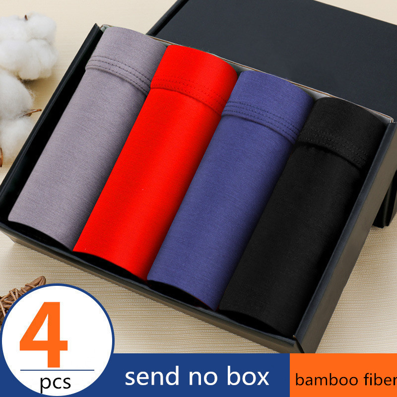 Men's Underwear Panties Shorts Boxers Trunk Bamboo-Fiber Comfortable Brand Male 4pcs/Lot