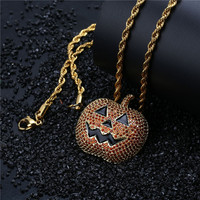 Lucky Sonny Hip Hop Pumpkin Pendant Red CZ Micro Paved Pendants & Necklaces With Black Enamel Gold Color Jewelry Holloween Gift