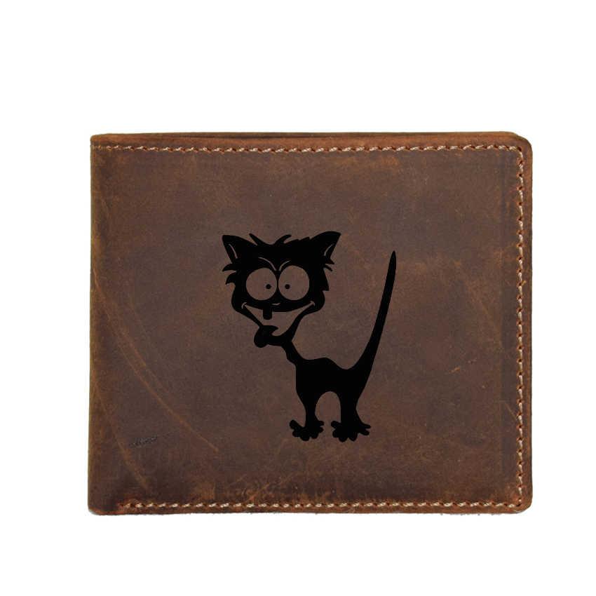 Cartera de gato loco para hombre, Cartera de cuero con nombre personalizado, tarjetero funcional, Cartera de cuero de vaca, carteras cortas para hombres