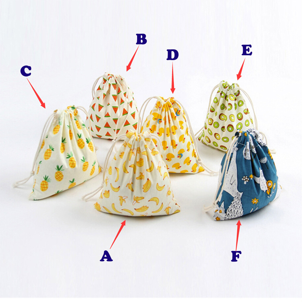 3 Sizes Linen Drawstring Bag Girls Cartoon Printing Small Backpack Travel Home Storage Bags Strings Package Wholesale Dropship candy cane patterned drawstring gift bag storage backpack