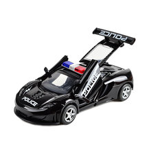 Police Patrol Car Model Diecast with Flashing Light and Sirens , Pullback 15CM