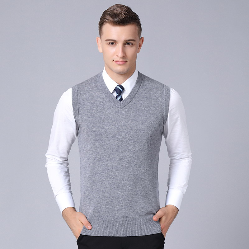 MACROSEA 100% Wool Knitwear Vest Thickened Winter Sweater Classic Style Business Casual Men's Solid Color Sleeveless Pullover