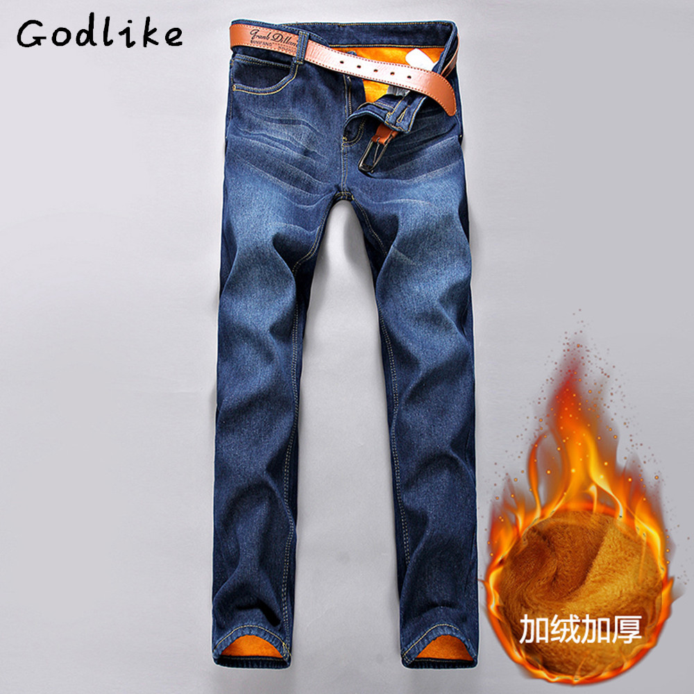 GODLIKE2017men'sfashion Slim autumn and winter models plus velvet thickening jeans/Men casual cotton blue straight foot trousers