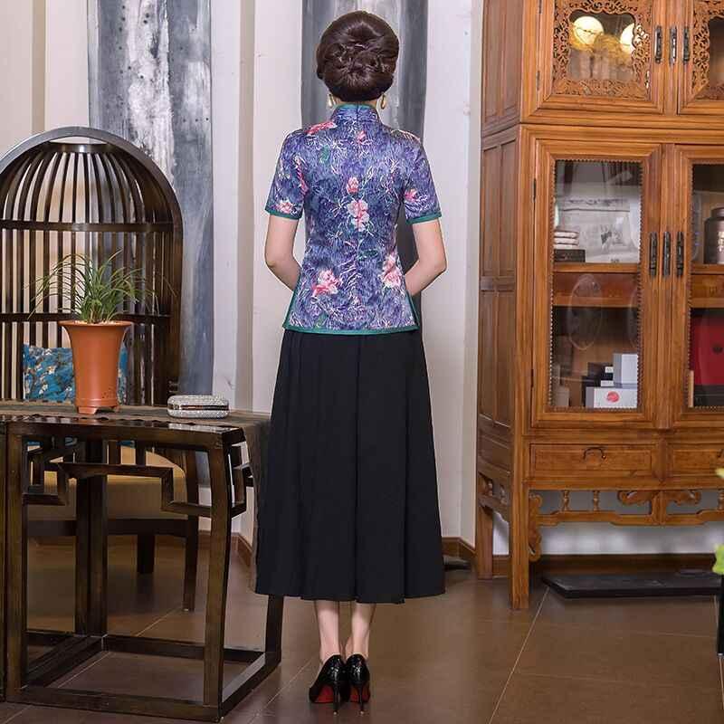 Vintage Chinese Blouse Rok Sets Vrouwen Zijde Korte Mouwen Shirt Mandarijn Kraag Kleding Nieuwe Collectie Zomer Plus Size S-4XL 9979