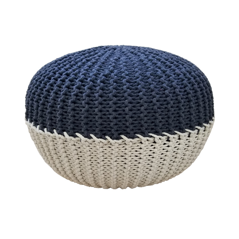 Handmade Stitch Round Floor Pouf - Cotton Cord Wrapped Ottoman Footstool Home Decorative Seating Bean Bag Stool Ottoman FootrestHandmade Stitch Round Floor Pouf - Cotton Cord Wrapped Ottoman Footstool Home Decorative Seating Bean Bag Stool Ottoman Footrest