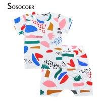 Kids Boy Clothing Set Graffiti Pattern T Shirt Harem Shorts 2pcs Baby Clothes 2017 Summer Style