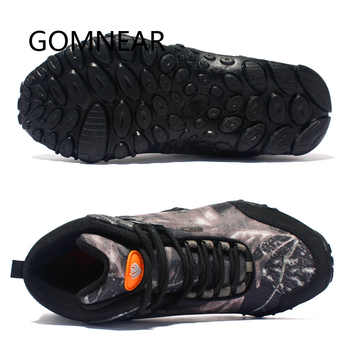 GOMNEAR New Men Hiking Shoes Waterproof Canvas Anti-skid Wear resistant breathable Shoe Trekking Tourism fishing climb Sneakers