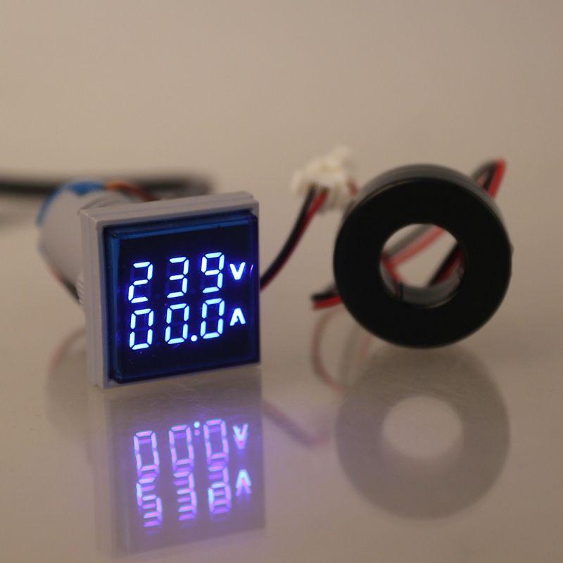Квадратный светодиодный цифровой двойной дисплей Вольтметр и амперметр измеритель напряжения тока переменного тока 60-500 В 0-100A