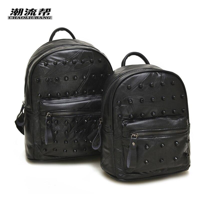 New 2017 High Quality Brand Real sheepskin Leather Women Backpacks Mochila Women s Travel bag School