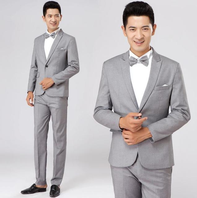 Grey formal dress male suit set men suit latest coat pant designs ...