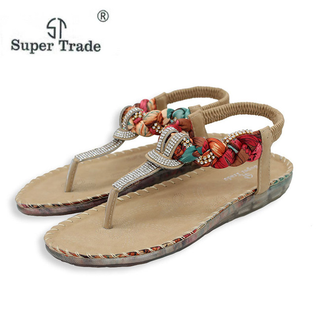 be5914f1cedd4 Exquisite Diamond Bohemian National Rhinestone Fashion Sandals Women Sandals  Large Size42-45 Casual Shoes Summers Sandals ST527