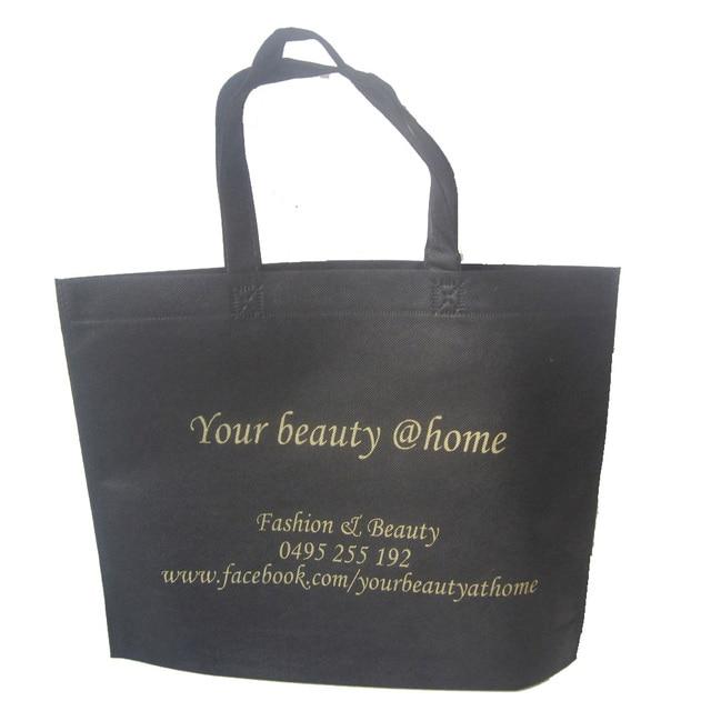 6c1acff9cce0 500pcs lot Women Fashion Black Advertisement Shopping Bags Reusable Recycle  School Non-woven Bag