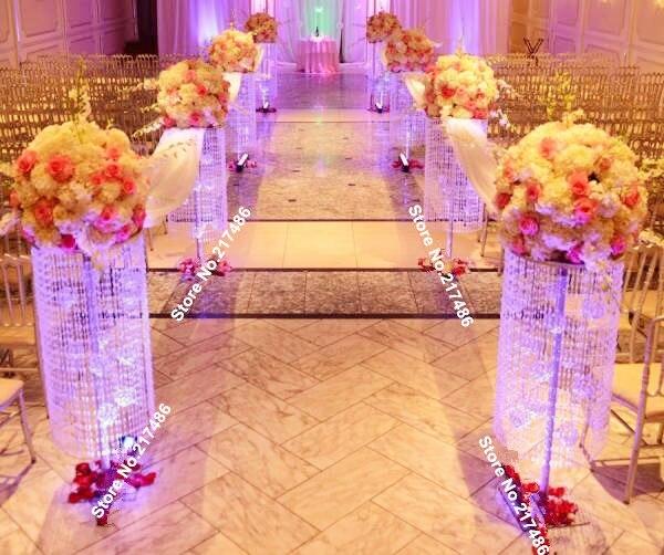 Pas de fleurs y compris) 3 pieds irisé sq plexi allée de mariage ...