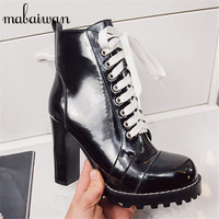 Fashion Patent Leather Women Ankle Boots Platform Short Booties Sexy High Heels Women Pumps Lace Up