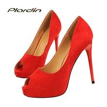 Plardin 2018 nuevos zapatos mujer puntiaguda Toe Sexy Mujer Partido boda  discoteca boca baja dos piezas lado bomba del alto taló. ce7fc8685d8b
