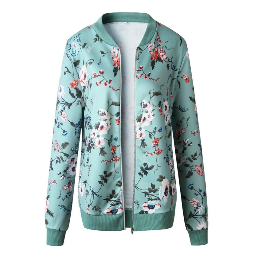 Outerwear & Coats Jackets Womens Ladies Retro Floral Zipper Up Bomber Outwear Casual coats and jackets women 18AUG10 19