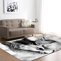 Wolf Printed Area Rug Wine Bar Floor Mat Coffee Store Rug and Carpet Special Rug and Carpet for Home Living Room Kids Play Mat
