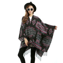 Oversized Scarves 2017 Runway New Designer Tartan Split Scarf Women Plaid Blanket Scarf Cape Poncho Shawl