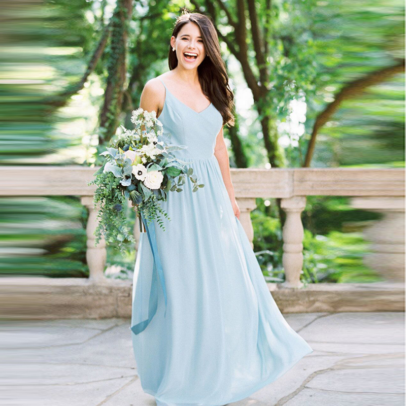 Sexy Spaghetti Straps Bridesmaid Dresses Long Chiffon Robe Demoiselle d'honneur Wedding Party Gowns Vestido Longo