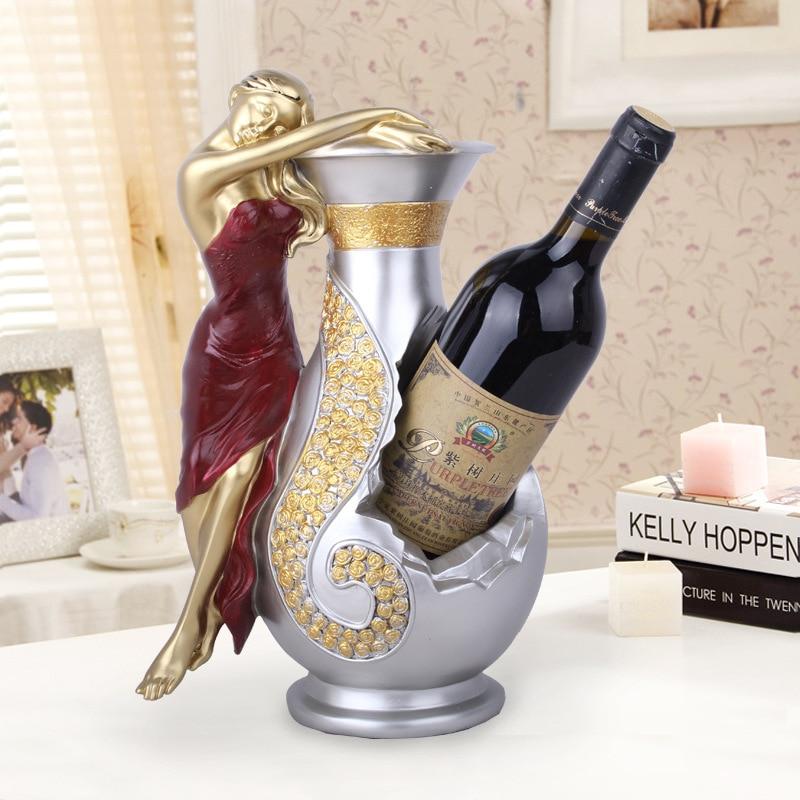 Beauty Girl Wine Rack Statue Figure Wine Bottle Resin Craftwork Wine Holder Home Decor L3069
