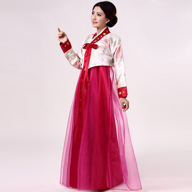 Fashion Embroidery Woman Elegant Korea Hanbok Traditional Korean Dress Female National Dance Costume For Performance