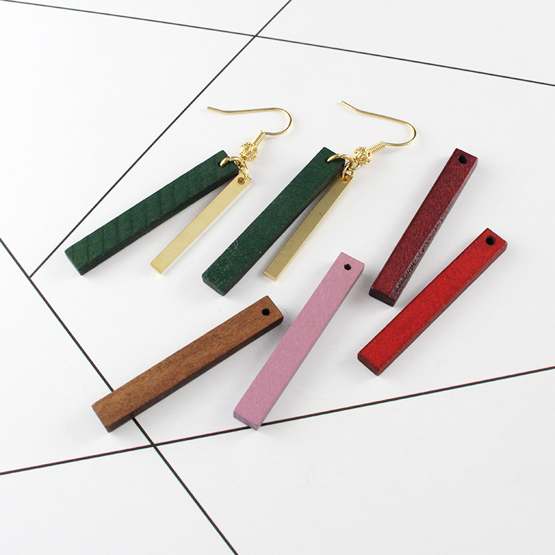 Charm Rectangle Pendant Hole-Earrings Wood with Diy Bracelet 30pcs