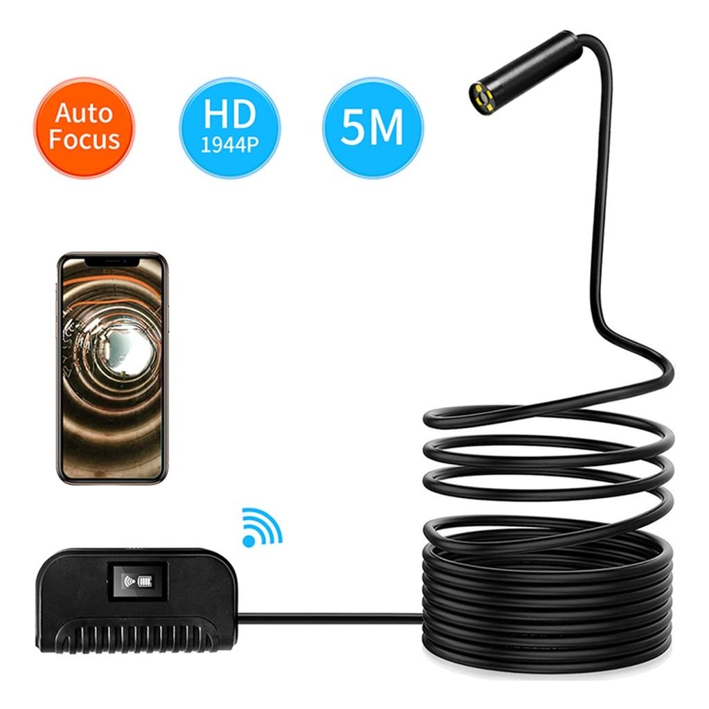 Caméra Endoscope Wifi 3.5/5/10 m câble souple 14.2mm HD 1944 P pour IOS Android téléphone Endoscope Mini caméra tuyau PCB Inspection de voiture
